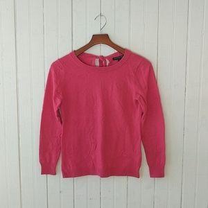 Banana Republic hot pink tie back wool sweater S